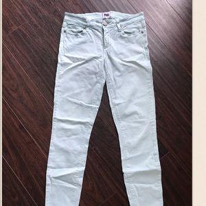 Mint blue skinny jeans